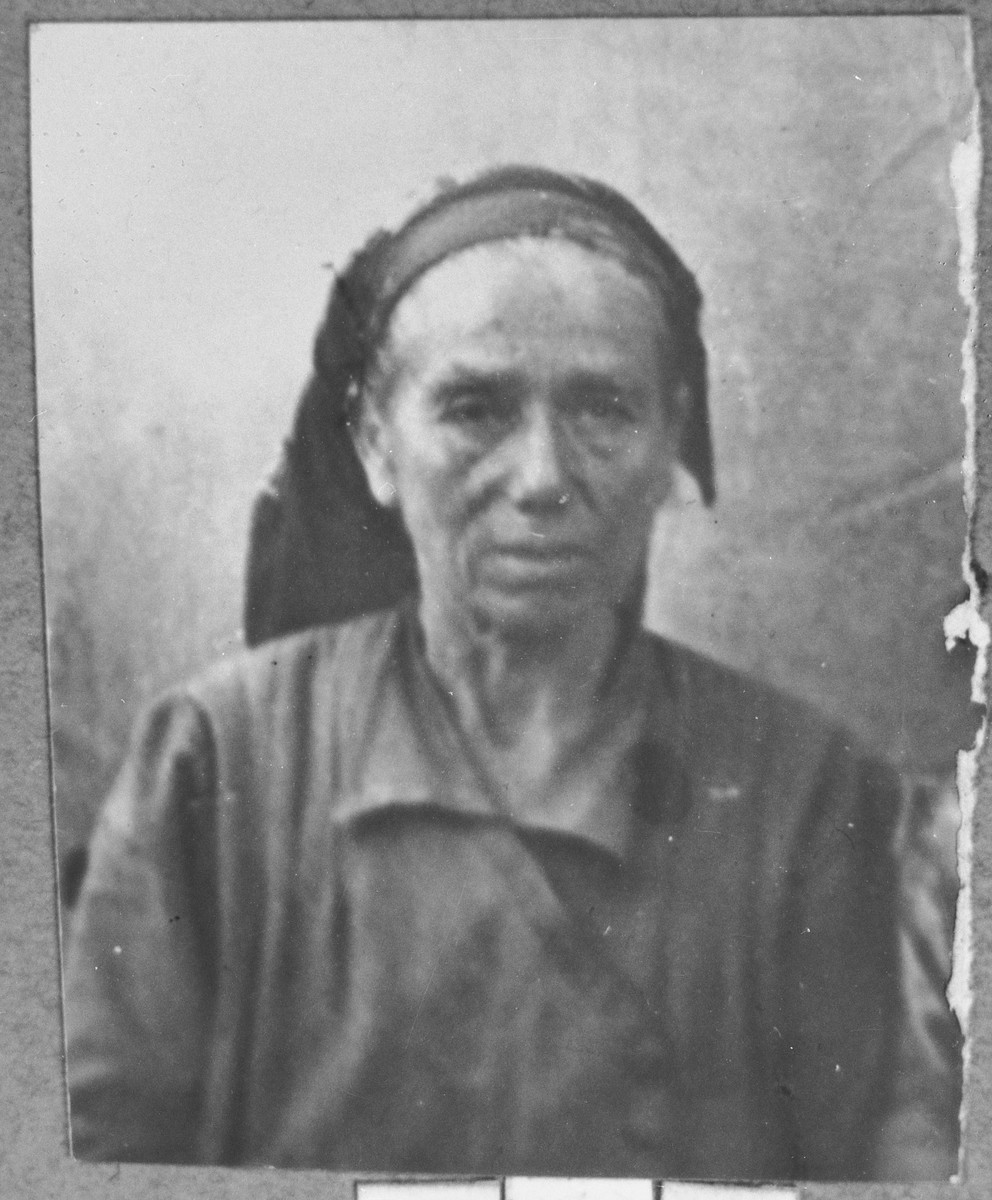 Portrait of Miriam Mishulam.  She was a laundress.  She lived at Drinska 119 in Bitola.