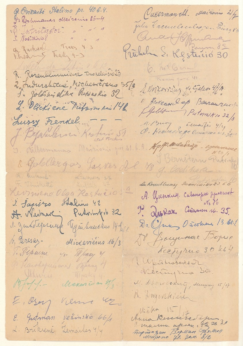 Second page of a petition by 72 Jewish survivors of the Kovno ghetto asking for the release of Moisei Kopelman, former police chief of the Kovno ghetto, who was arrested by the Soviets in September 1944.