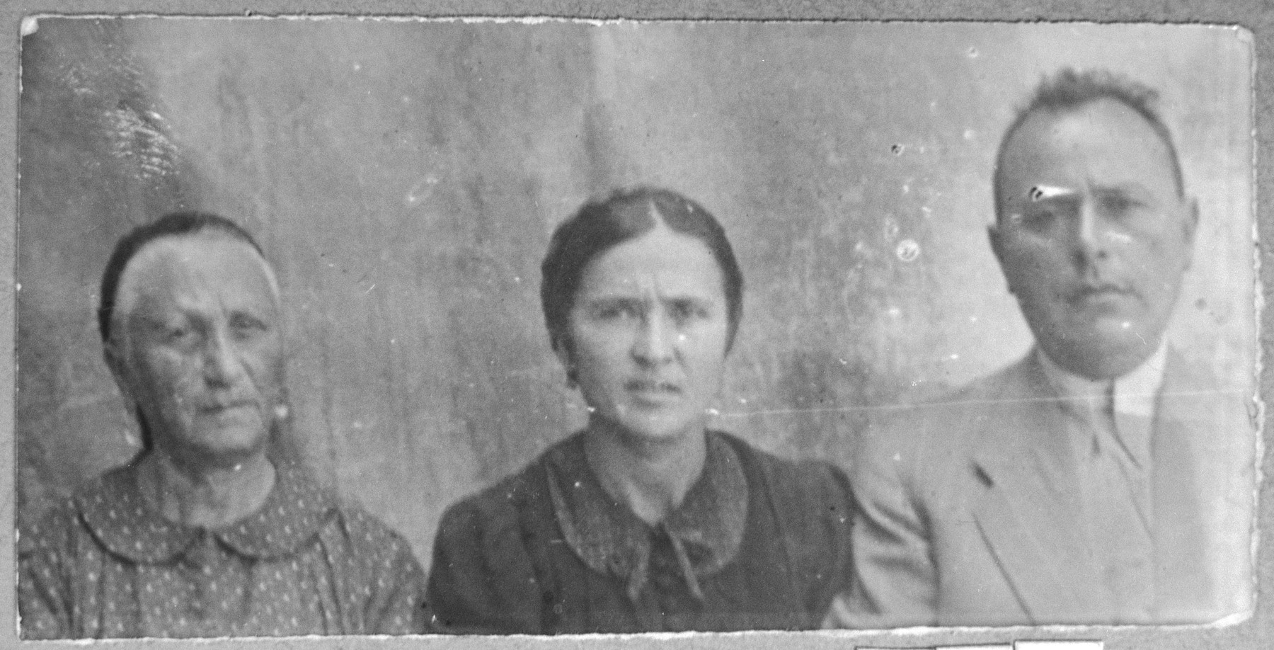 Portrait of Ovadia Pardo, son of Haim Pardo, Ovadia's wife, Arnesta, and Haim's wife, Djoya.  Ovadia was a Boutique Owner.  They lived at Karagoryeva 68 in Bitola.