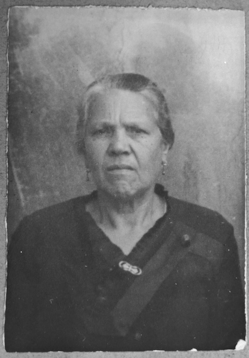 Portrait of Suncho Pardo, wife of Pinhas Pardo.  She lived at Dr. Raisa 133 in Bitola.