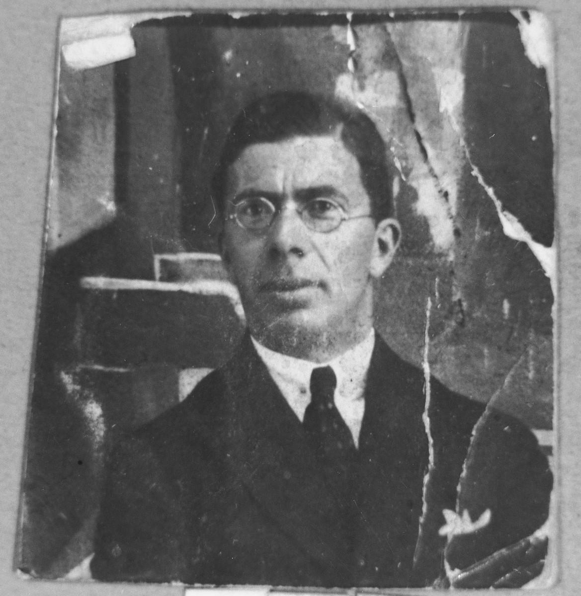 Portrait of Avram Pesso, son of Isak Pesso.  He lived at Zvornitska 23 in Bitola.