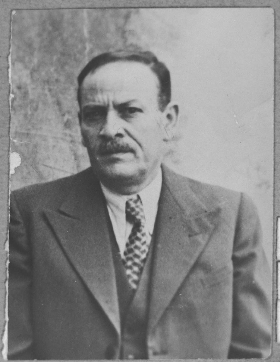 Portrait of Mishulam (D.) Pesso.  He was a manufacturer.  He lived at Herzegovatska 37 in Bitola.