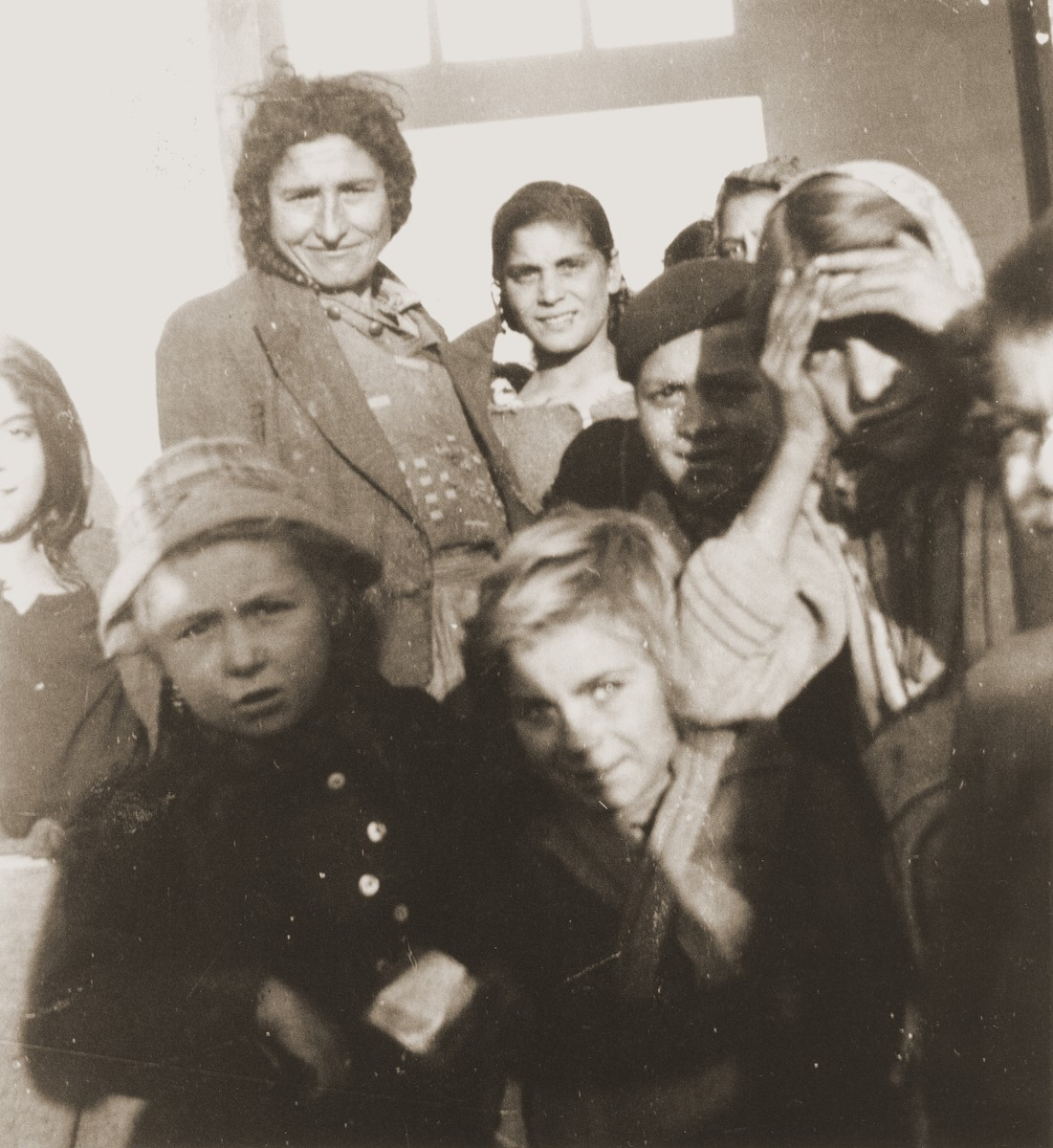 A group of Romani women and children in the Rivesaltes internment camp.