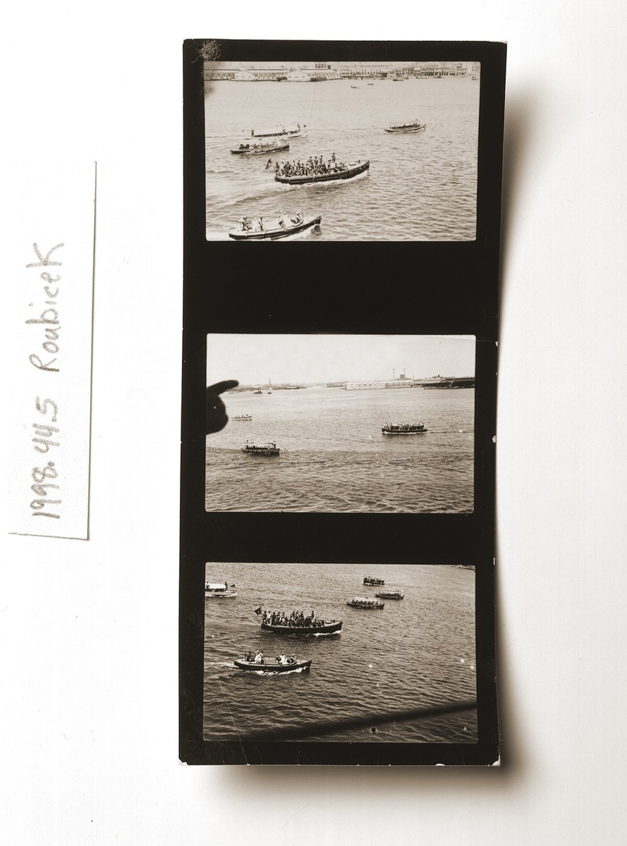 Contact sheet with three views of Havana harbor with several small boats carrying relatives of St. Louis passengers, Cuban officials and other negotiators seeking to resolve the St. Louis crisis.