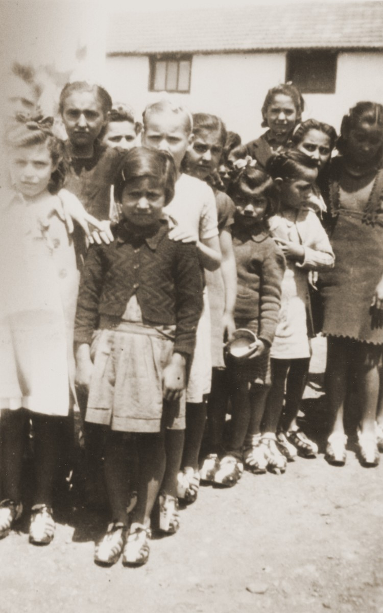 Rivesaltes children wearing their new shoes.