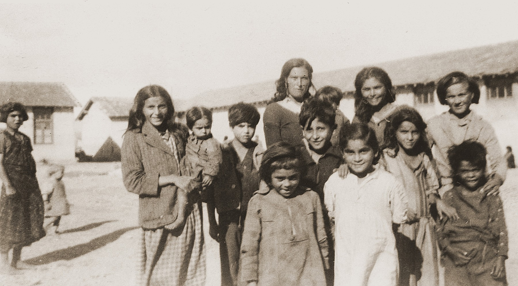 Alsacian Romani (Gypsy) women and children in the Rivesaltes detention camp.