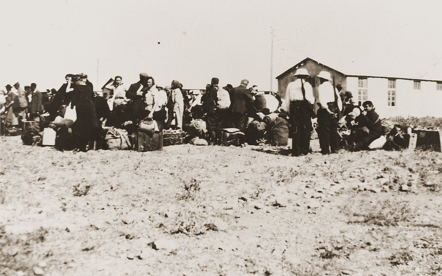Jews await deportation from the Rivesaltes internment camp.