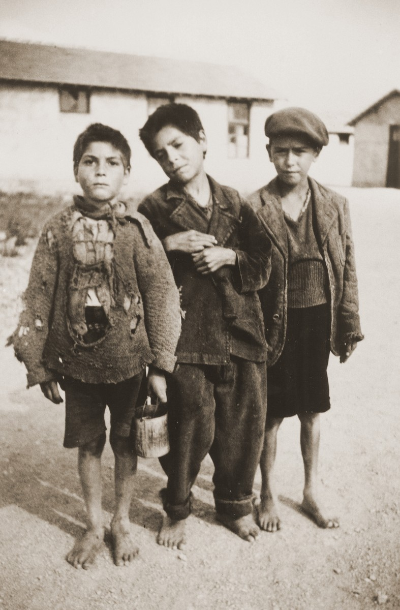 Three Romani (Gypsy) boys in the Rivesaltes internment camp.