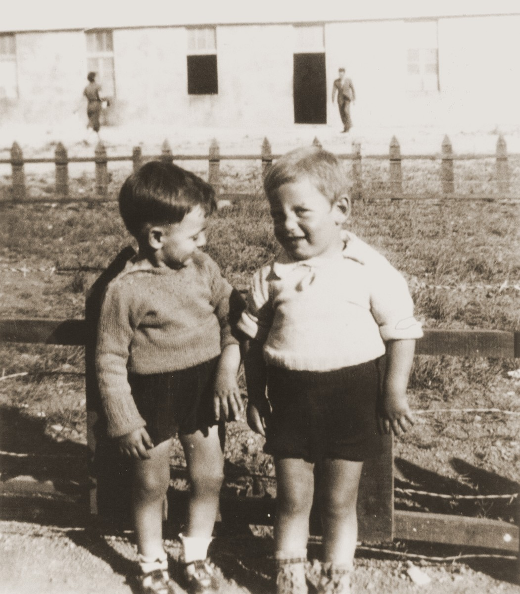 "Two Jewish children cared for in the Rivesaltes nursery, ""la Pouponniere de Banyuls."""