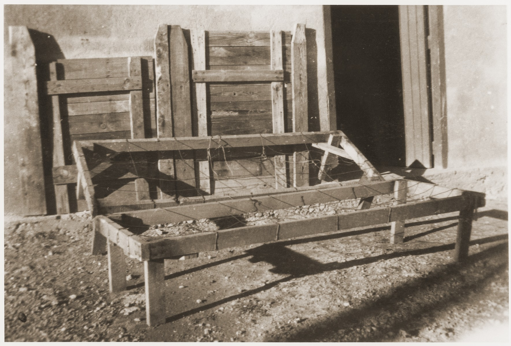 Primitive beds used in the Rivesaltes internment camp.