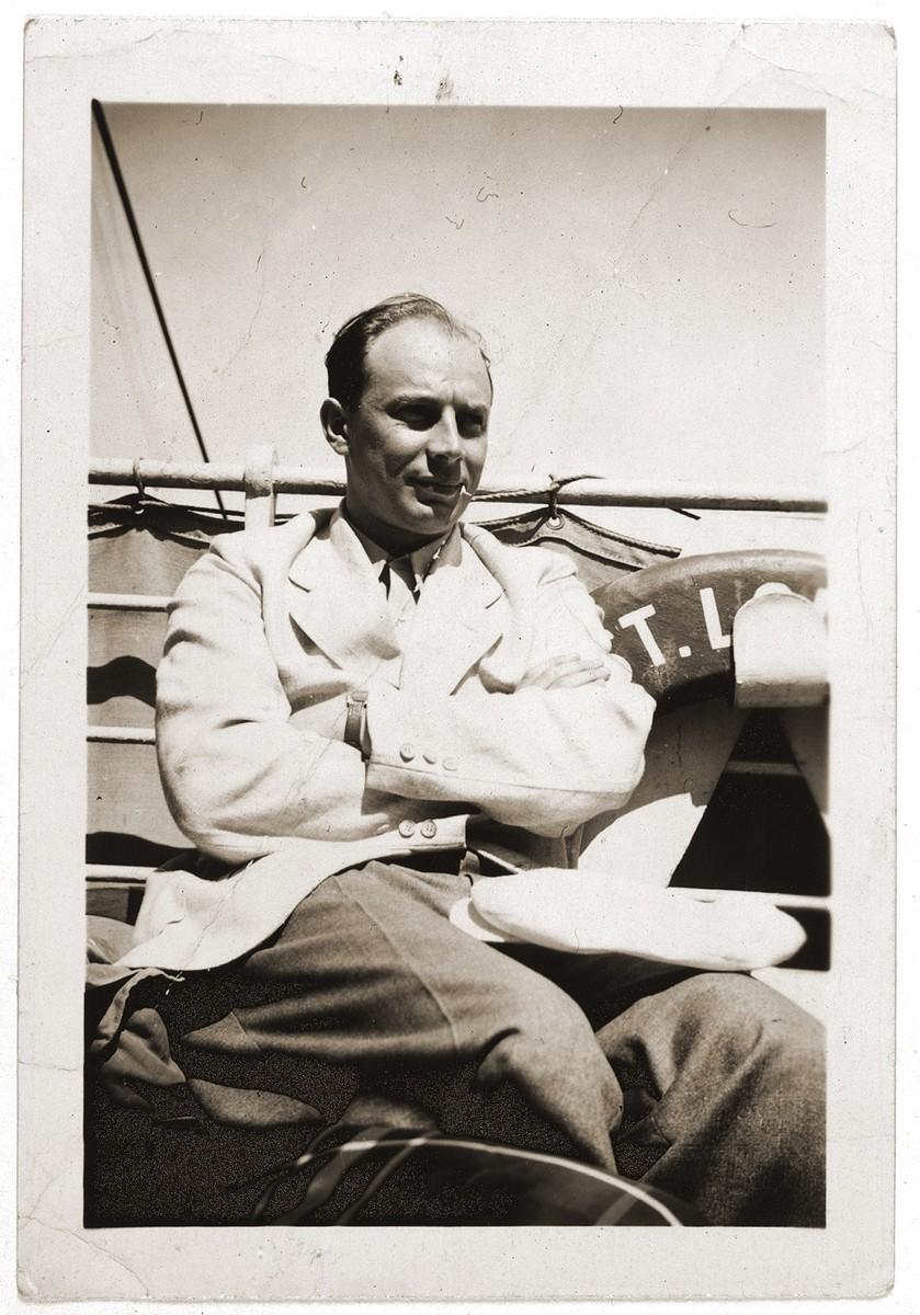 Oskar Blechner poses on the deck of the MS St. Louis.