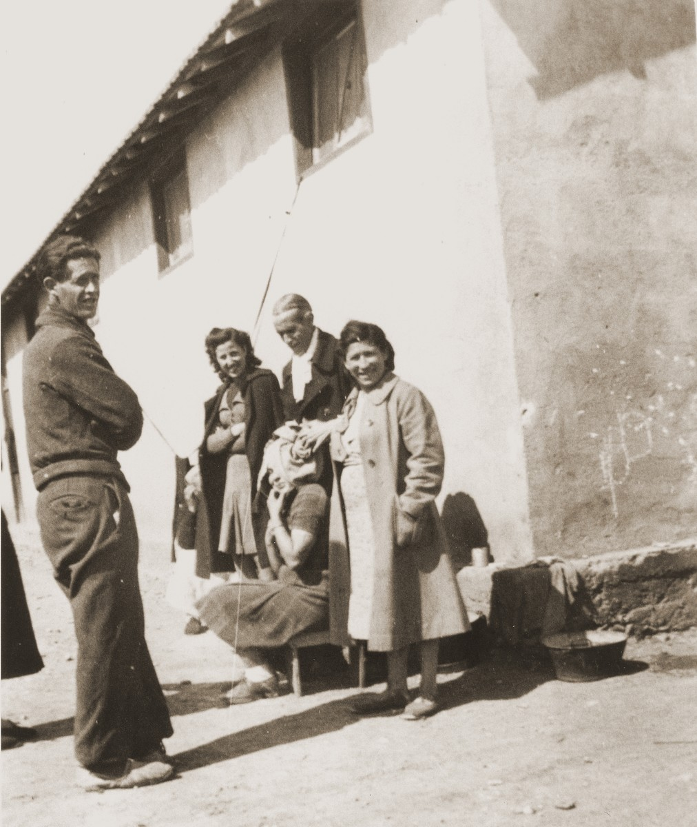 Rivesaltes internees await medical care outside the infirmary.