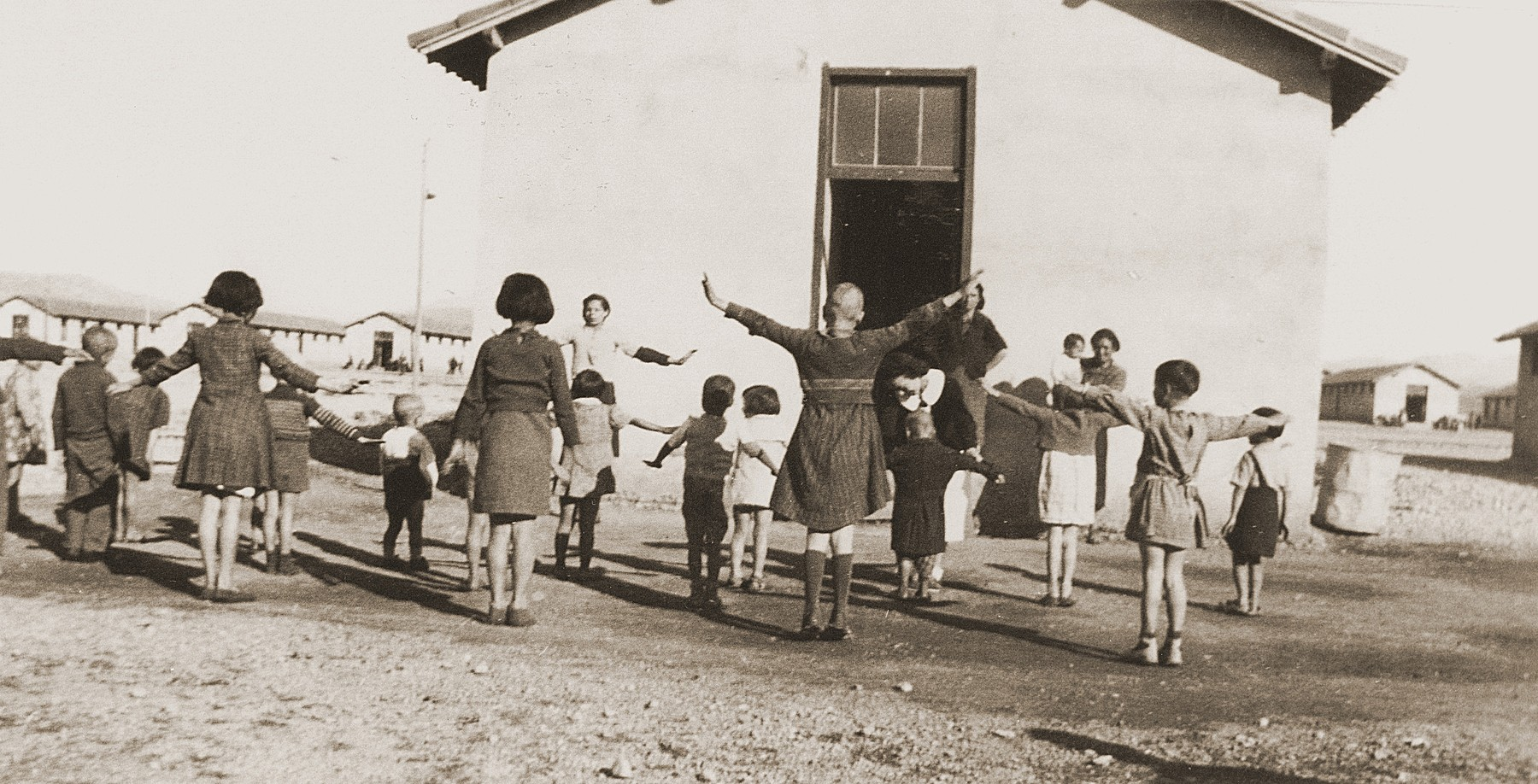 Children exercise in a group organized by the Secours Suisse aux enfants in Rivesaltes.