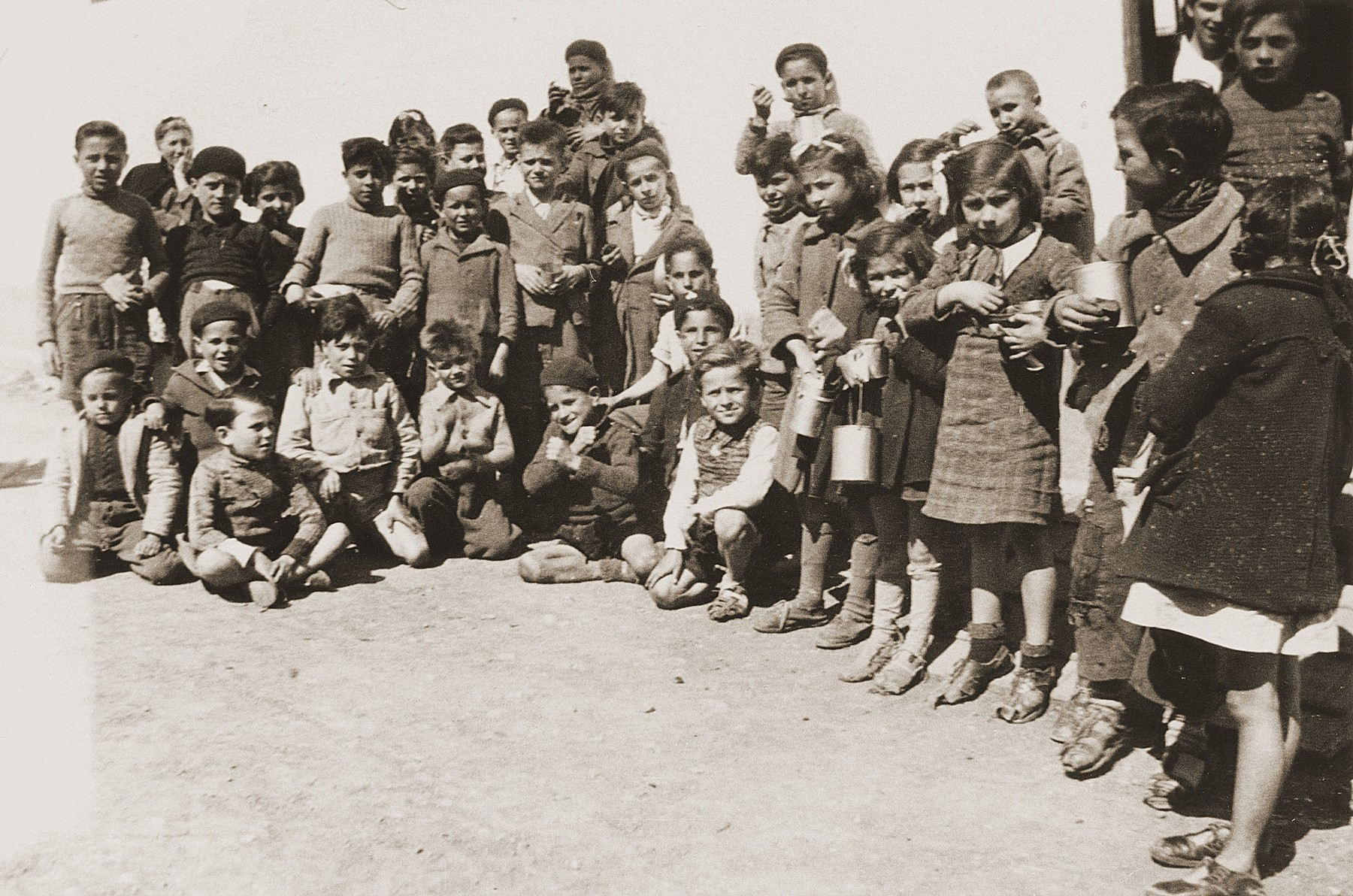 Group portrait of children at Rivesaltes on the eve of their departure for the Chateau de Montluel children's home near Lyon.