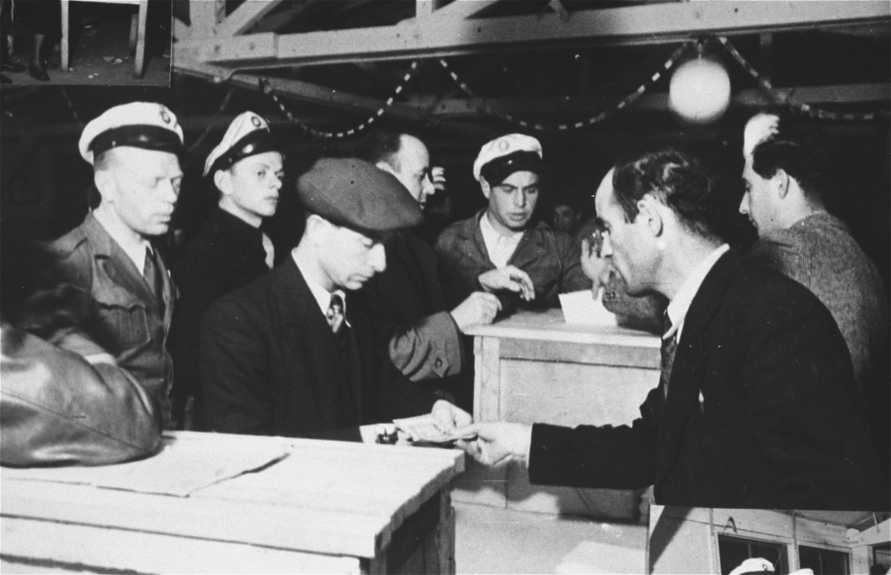 Jewish police supervise the voting during elections in the Zeilsheim displaced persons' camp.