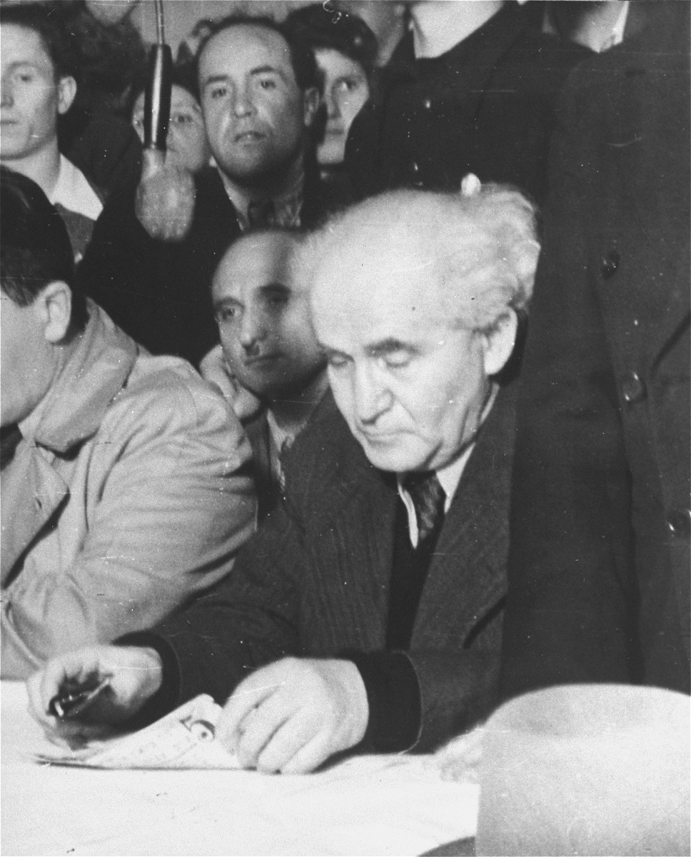 David Ben-Gurion, Chairman of the Jewish Agency Executive, on an official visit to the Zeilsheim displaced persons camp.