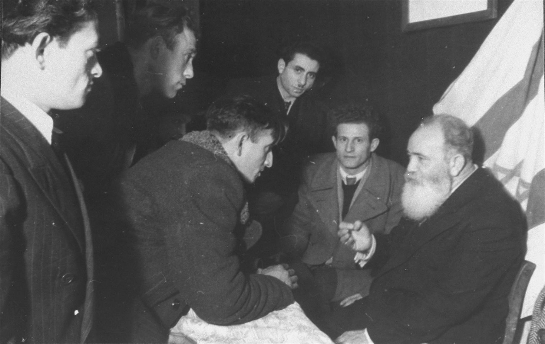 Jacob Zerubavel meeting a group of DPs at Zeilsheim DP camp.