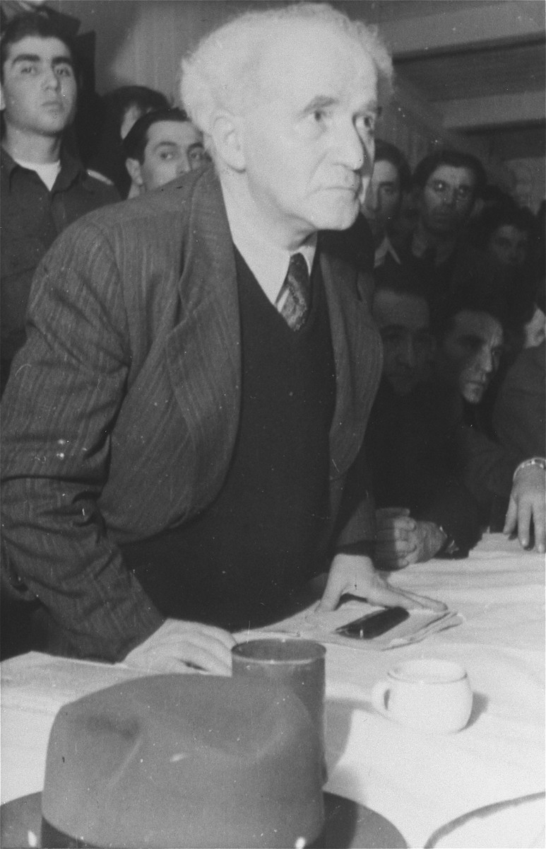 David Ben-Gurion, Chairman of the Jewish Agency Executive, speaks to Jewish DPs during a visit to the Zeilsheim displaced persons camp.