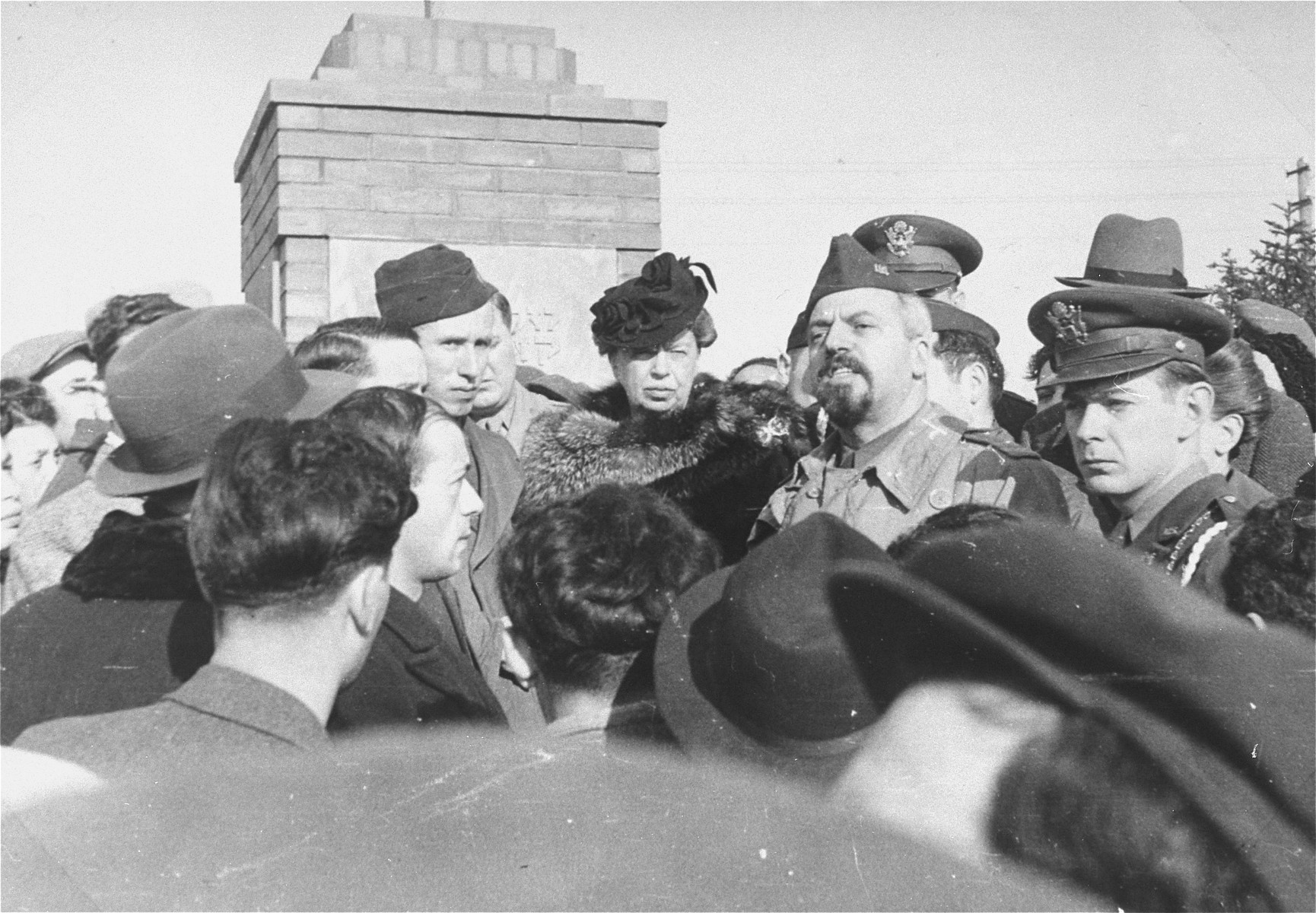 Eleanor Roosevelt visits the Zeilsheim displaced persons' camp.