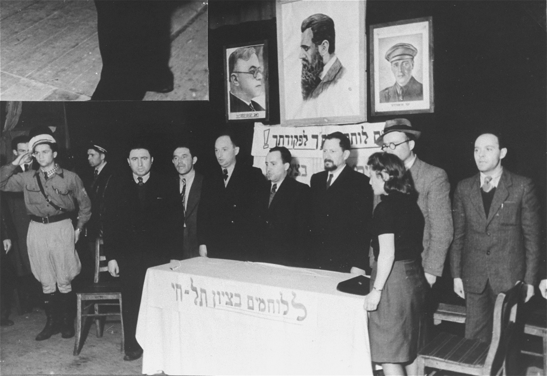 Rabbi Bernstein being introduced to the audience at a meeting in Zeilsheim displaced persons' camp.