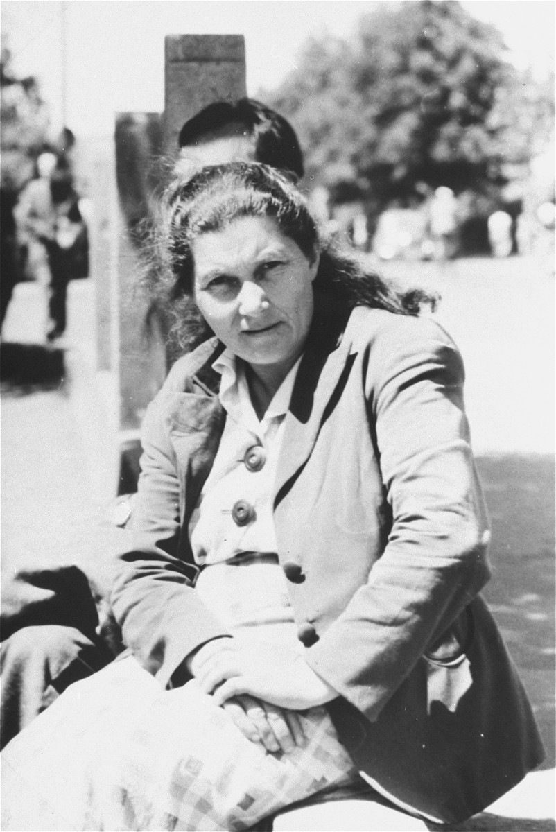 Close-up of a woman in the Zeilsheim displaced persons' camp.