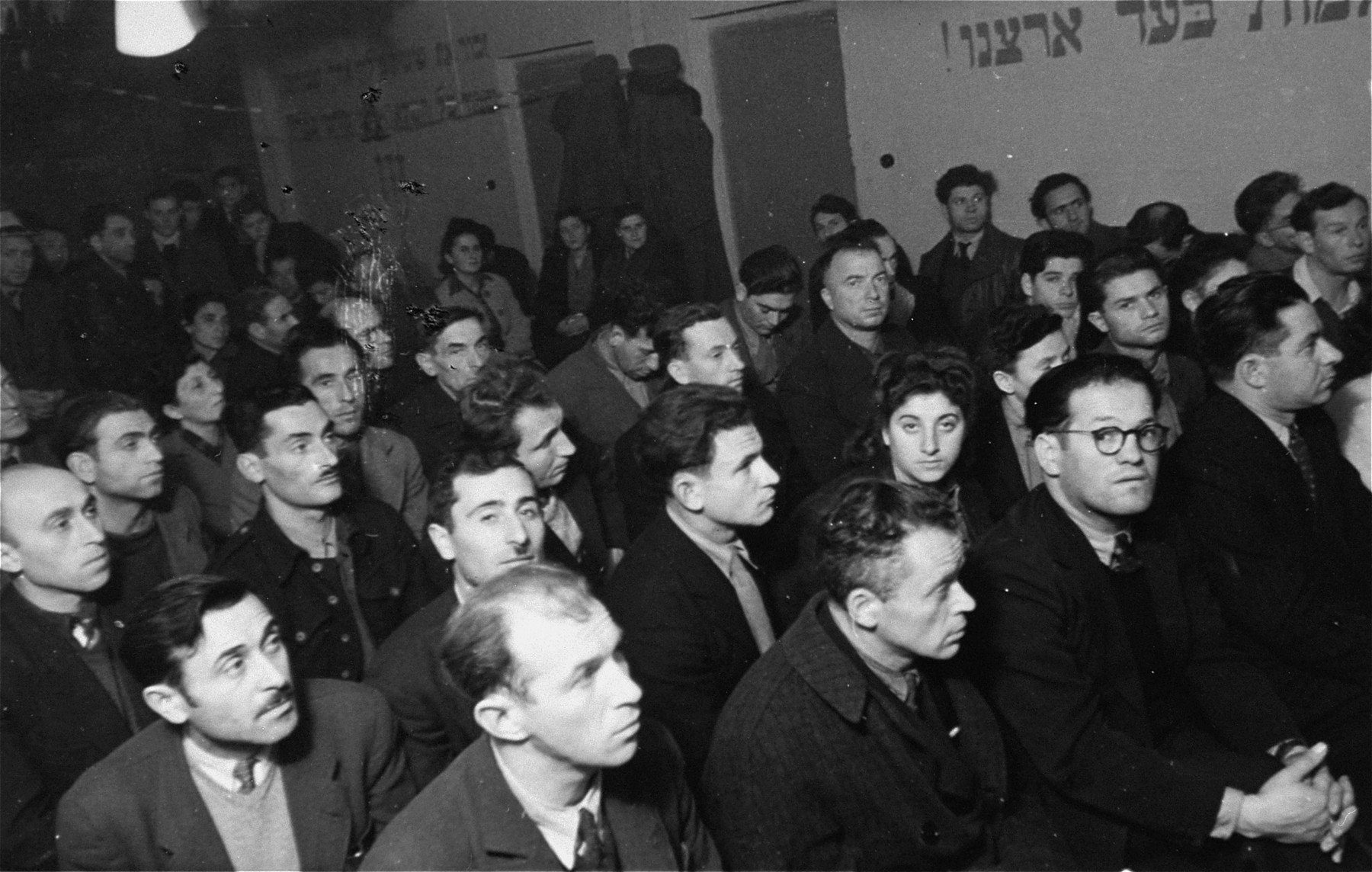 A large crowd gathers for a Zionist political meeting in Zeilsheim displaced person's camp.
