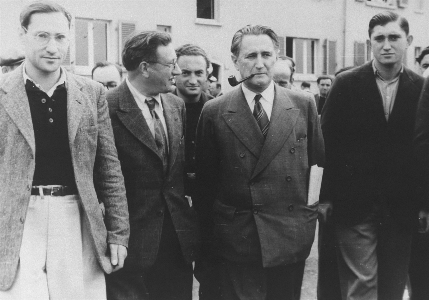 Zionist leader Nahum Goldmann tours the Zeilsheim displaced persons camp.