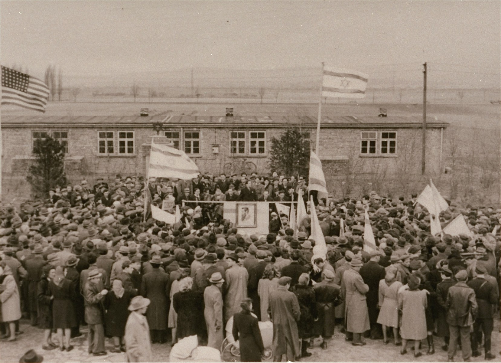 A large crowd rallies in a Zionist demonstration in the Zeilsheim displaced persons' camp.
