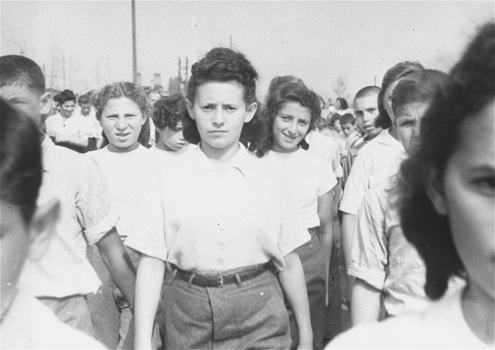 Zionist youth march in a parade in the Zeilsheim displaced persons' camp.
