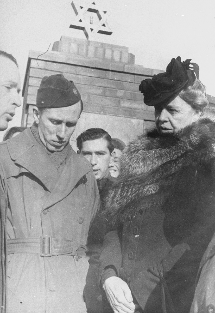Eleanor Roosevelt visits the memorial to holocaust victims at the Zeilsheim displaced persons' camp during her official tour of the camp.