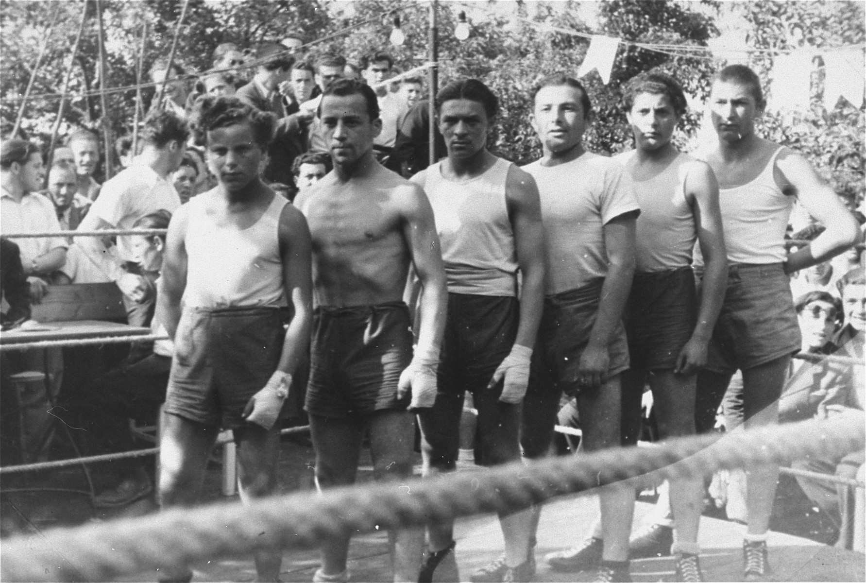 Competitors line up at a sporting event at the Zeilsheim displaced persons' camp.