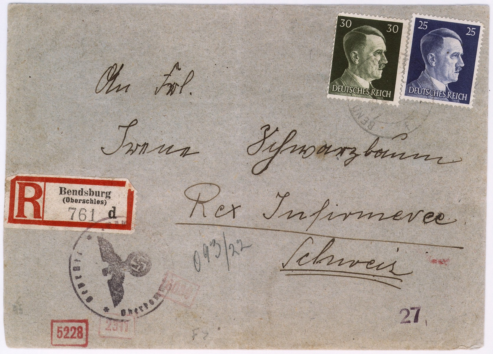 An envelope of a registered letter sent from the Bedzin ghetto by Kaminski Diamant to Alfred Schwartzbaum in Lausanne, Switzerland.  The return address of the sender or senders states: Taylors Workshop.  On the back of the envelope there is a piece of tape with the stamp of the German censor.
