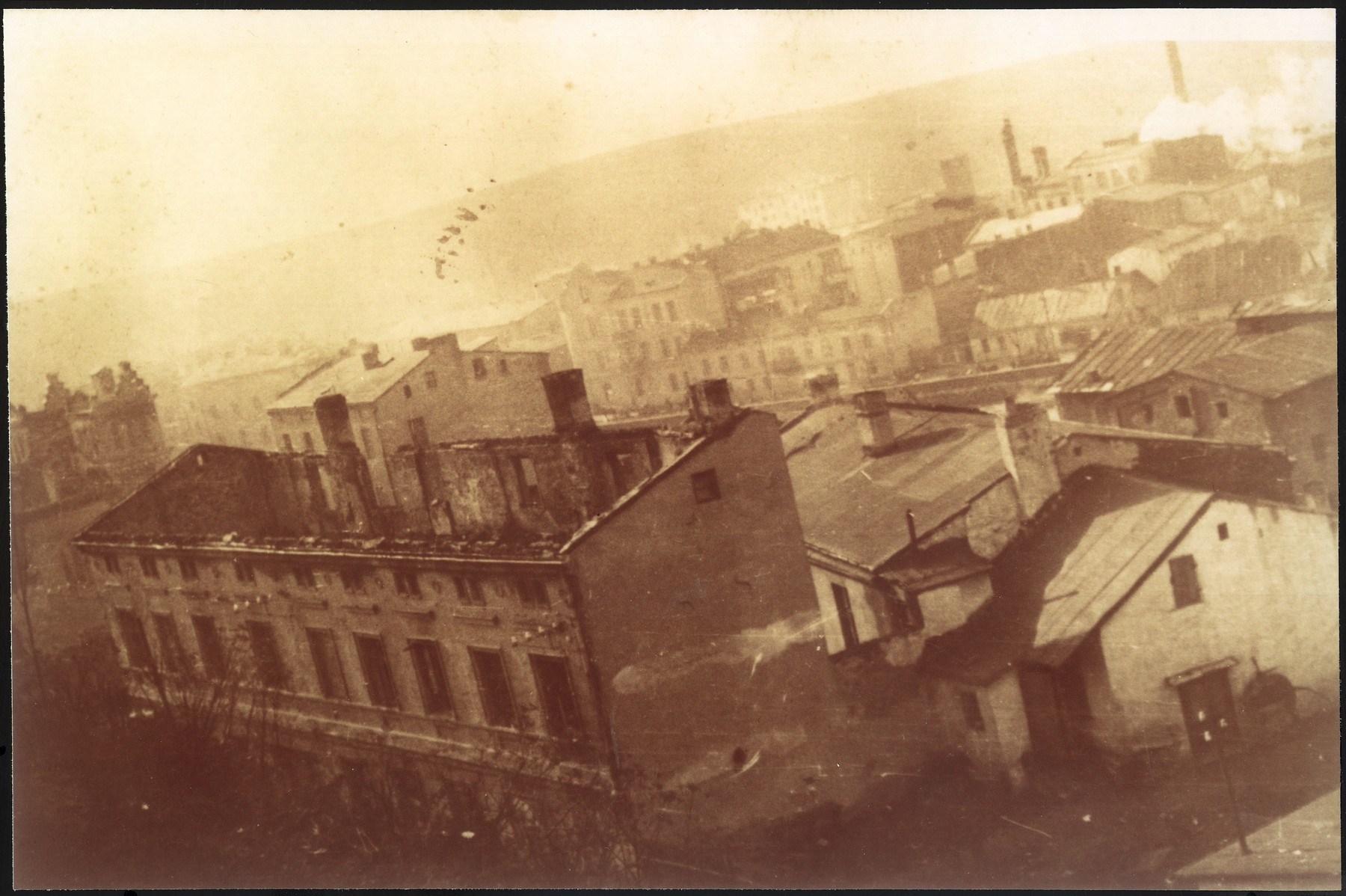 View of a bombed out building in Bedzin.
