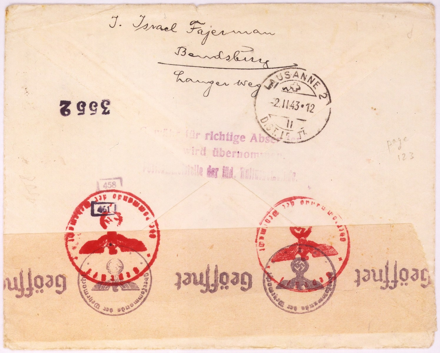 An envelope of a registered letter sent from  Dabrowa  by I. Fajerman to Alfred Schwartzbaum in Lausanne, Switzerland.  The return address of the sender or senders states:  Bendsburg, Langer Weg.  On the back of the envelope there is a piece of tape with a stamp of the German censor.