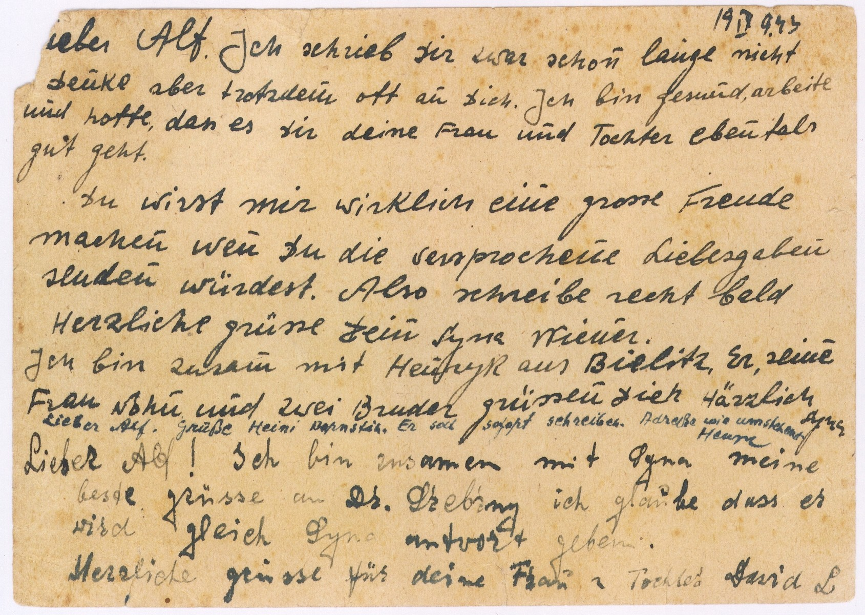 A postcard sent from the Bedzin ghetto in Kamionka by C. Wiener to Alfred Schwartzbaum in Lausanne, Switzerland.  The postcard was sent on September 21, 1943.  The encoded message, written by three people, urges  Alfred Schwarzbaum to send them foreign visas as soon as possible.