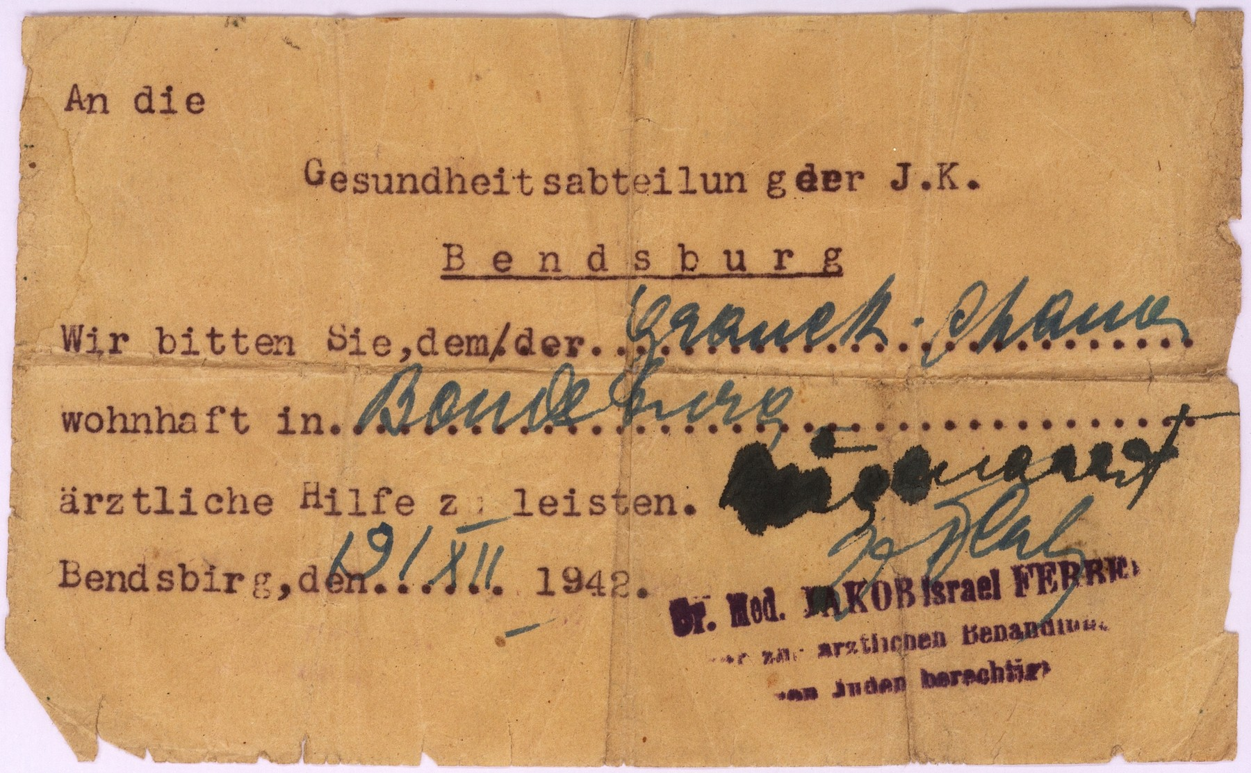 A note written by Dr. Jakob Ferber to the Health department of the Jewish administration of Bedzin requesting the medical assistance of Hanka Granek.