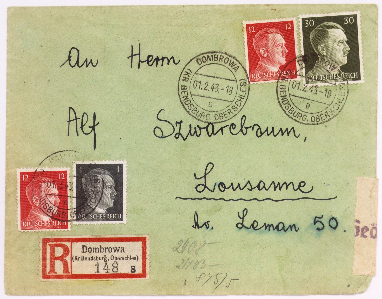 An envelope of a registered letter sent from  Dabrowa  by Bajla Gertner to Alfred Schwartzbaum in Lausanne, Switzerland.  The return address of the sender or senders states:  Bendsburg, Am Wasser 12/I.  On the back of the envelope there is a piece of tape with a stamp of the German censor.