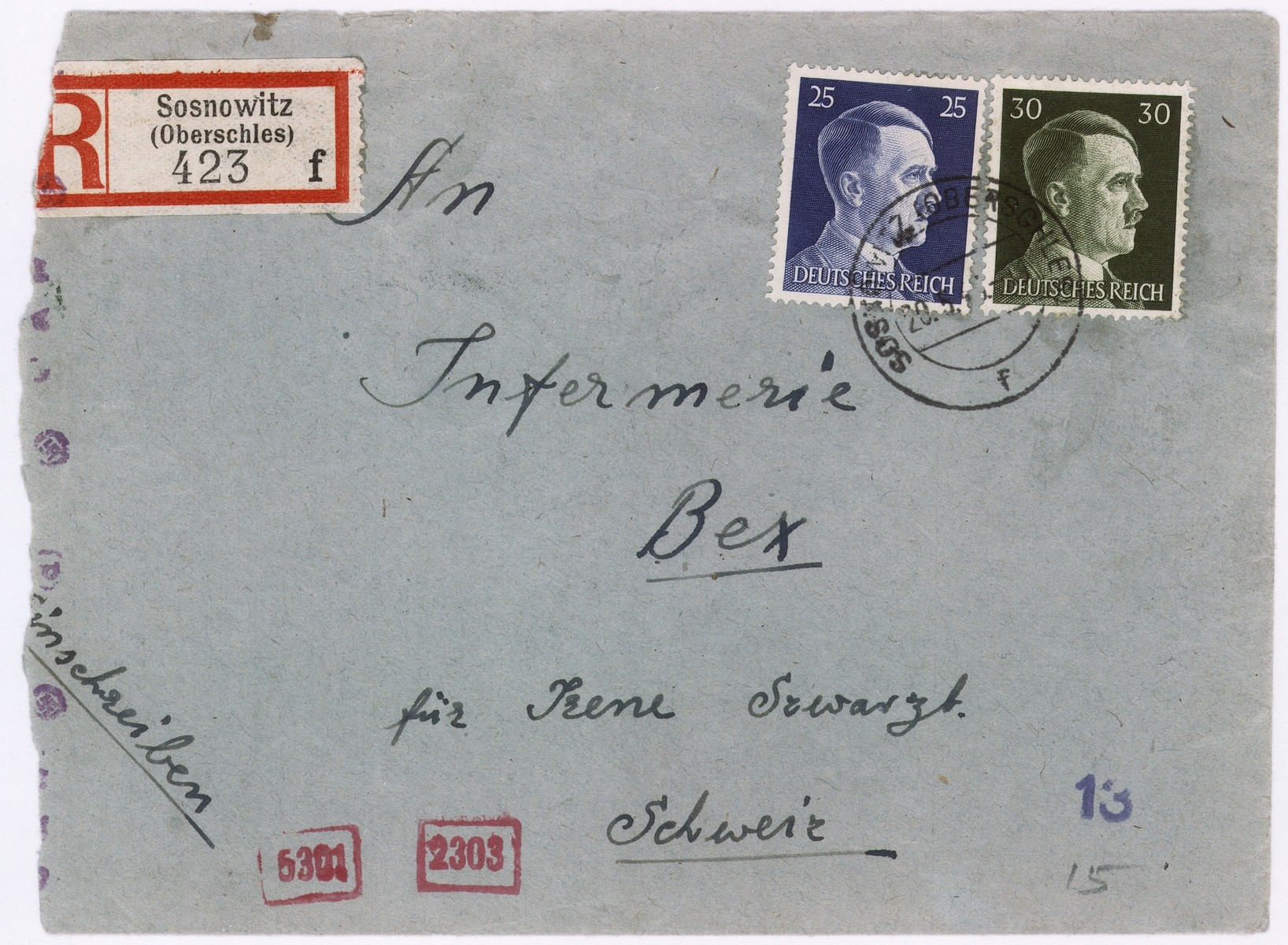 An envelope of a registered letter sent from  Sosnowiec  by A. Sztatler to Irene Schwartzbaum in Bax, Switzerland.  The return address of the sender or senders states: tailors workshop, Bedzin, Alte Haupstrasse 45.