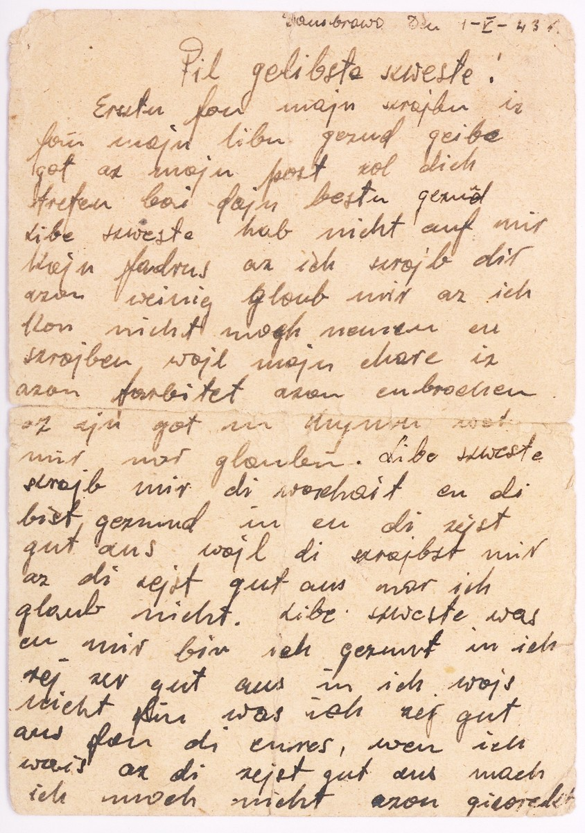 A postcard written by Tonia Wajntraub in the Dabrowa ghetto to her sister Hanka Wajntraub, imprisoned in the Gruenberg (Zielona Gora) labor/concentration camp.   Tonia lived in Dabrowa, but mailed the postcard on May 1, 1943 from Bedzin, where she went every day to work in a sewing workshop. Tonia perished in unknown circumstances. Hanka survived the Gruenberg camp and a death march to Bergen Belsen. She kept the postcard from her sister in her shoes until the liberation in April 1945.