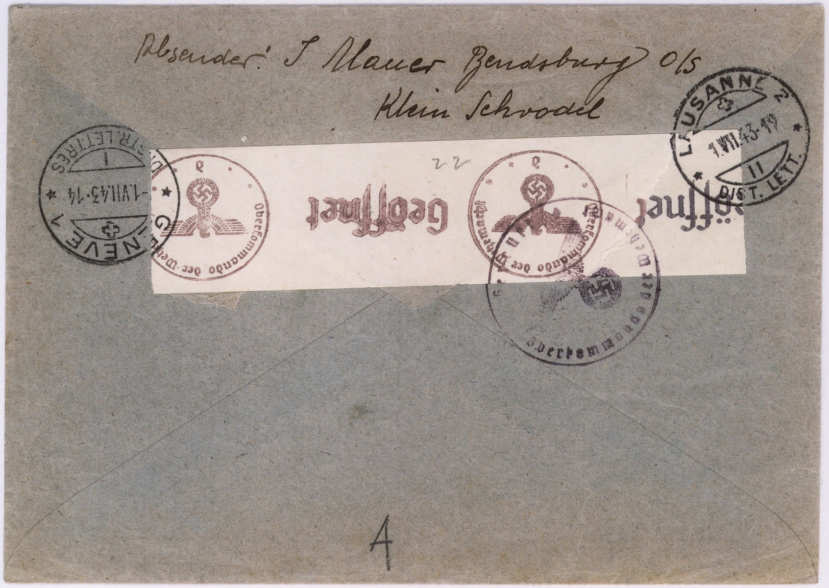 An envelope of a registered letter sent from the Bedzin ghetto in Srodula by J. Mauer to Alfred Schwartzbaum in Lausanne, Switzerland.  On the back of the envelope there is a piece of tape with the stamp of the German censor.