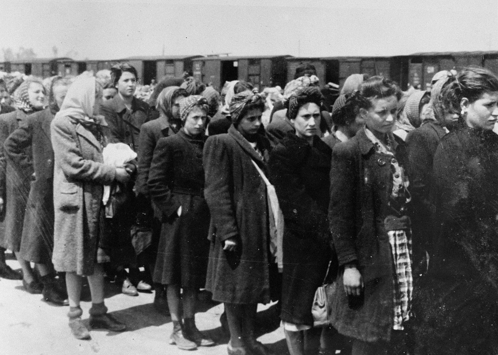 Jewish women from Subcarpathian Rus who have been selected for forced labor at Auschwitz-Birkenau, wait to be taken to another section of the camp.  First from the left is Fritzi Ickovics, the younger sister of Leo Cove.