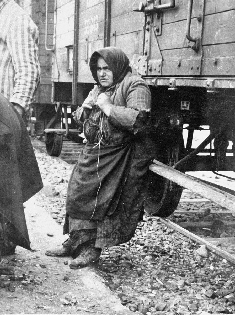 Babo Batren, an elderly Jewish woman from Tecso, leans against the deportation train in Auschwitz-Birkenau while waiting to be taken to the gas chambers.