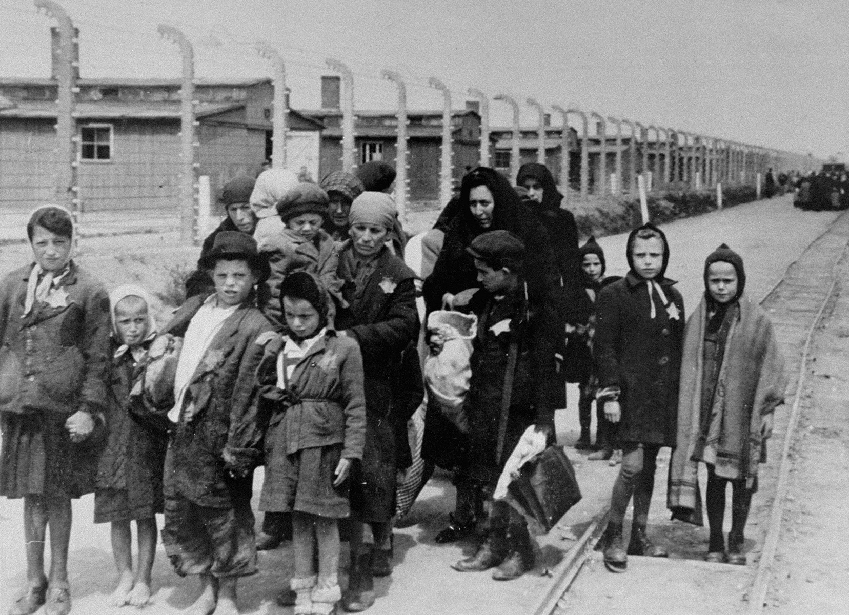 Jewish women and children from Subcarpathian Rus who have been selected for death at Auschwitz-Birkenau, walk toward the gas chambers.