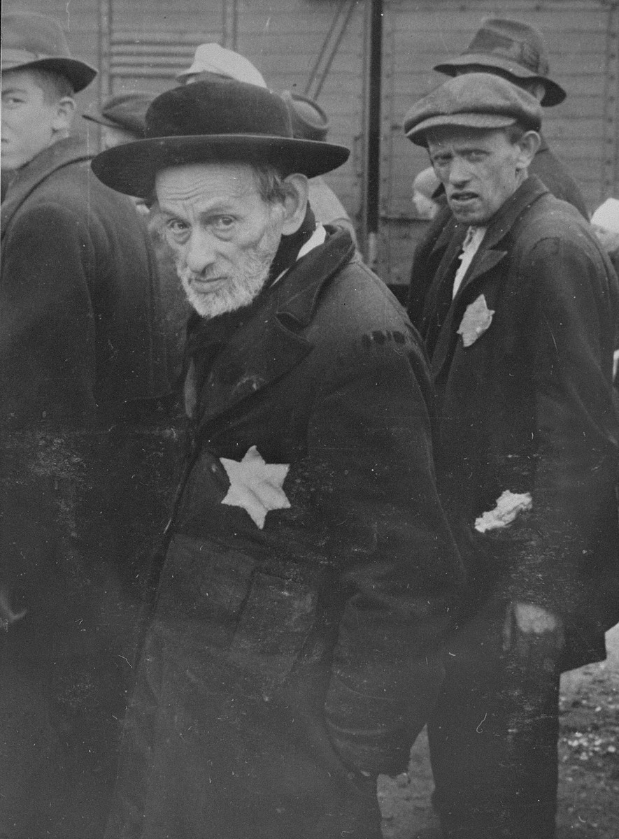 Jewish men from Subcarpathian Rus await selection on the ramp at Auschwitz-Birkenau.   Pictured in the foreground is Rabbi Yehuda Leib Weiss, a talmudic scholar from Tecso.  His son Shmuel Weiss, stands behind him. On the left is Itzo Einhorn.