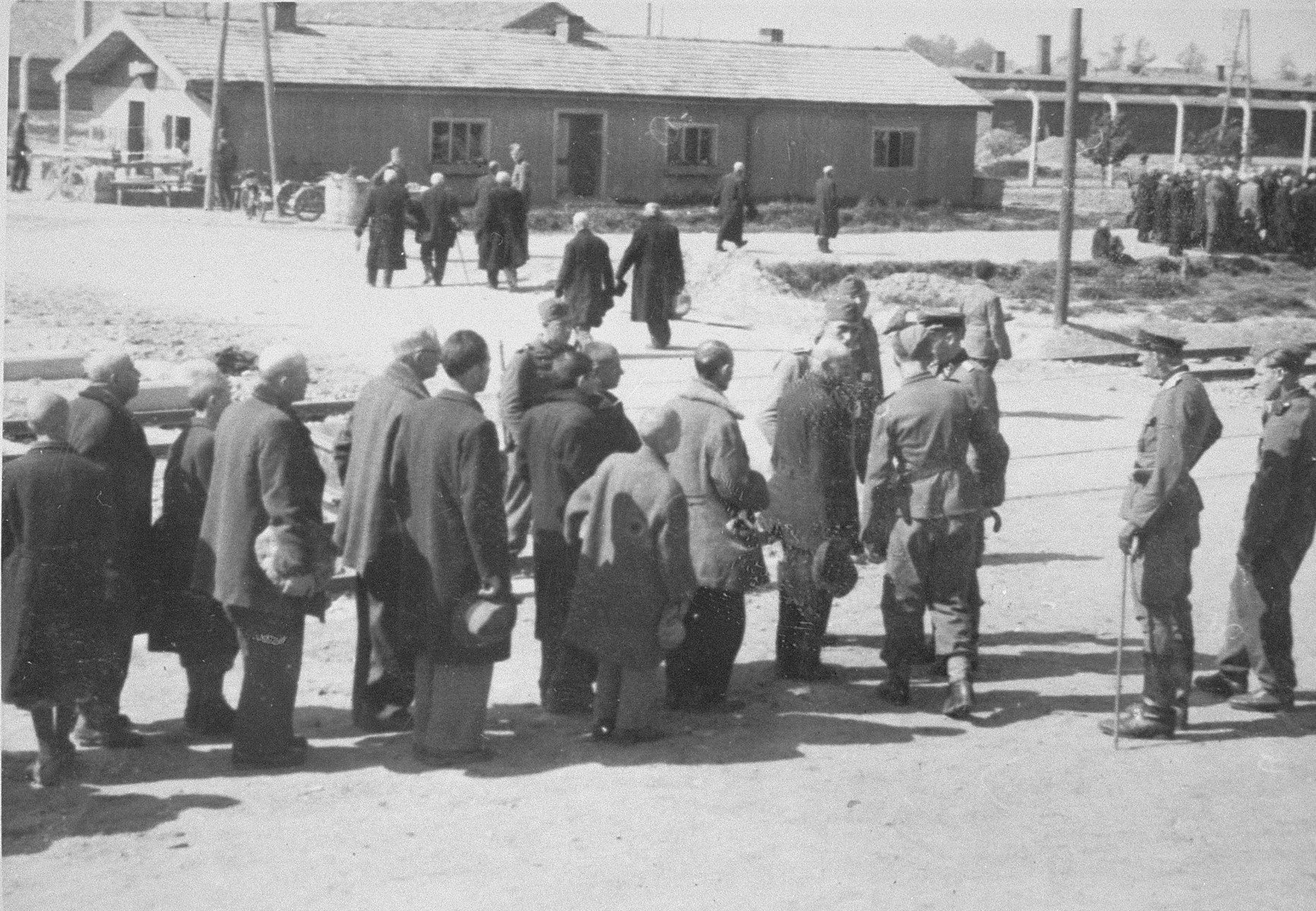 Jews from Subcarpathian Rus undergo selection at Auschwitz-Birkenau; in the background is a group of Jews headed towards the gas chambers and crematoria.