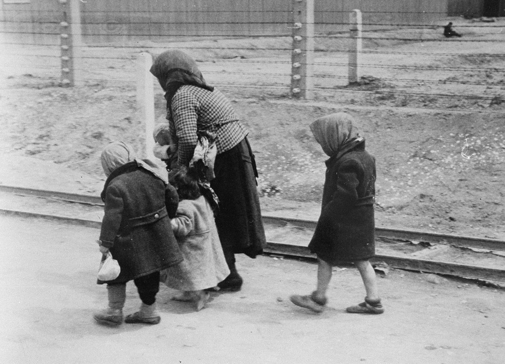A Jewish woman walks towards the gas chambers with three young children and a baby in her arms, after going through the selection process on the ramp at Auschwitz-Birkenau.