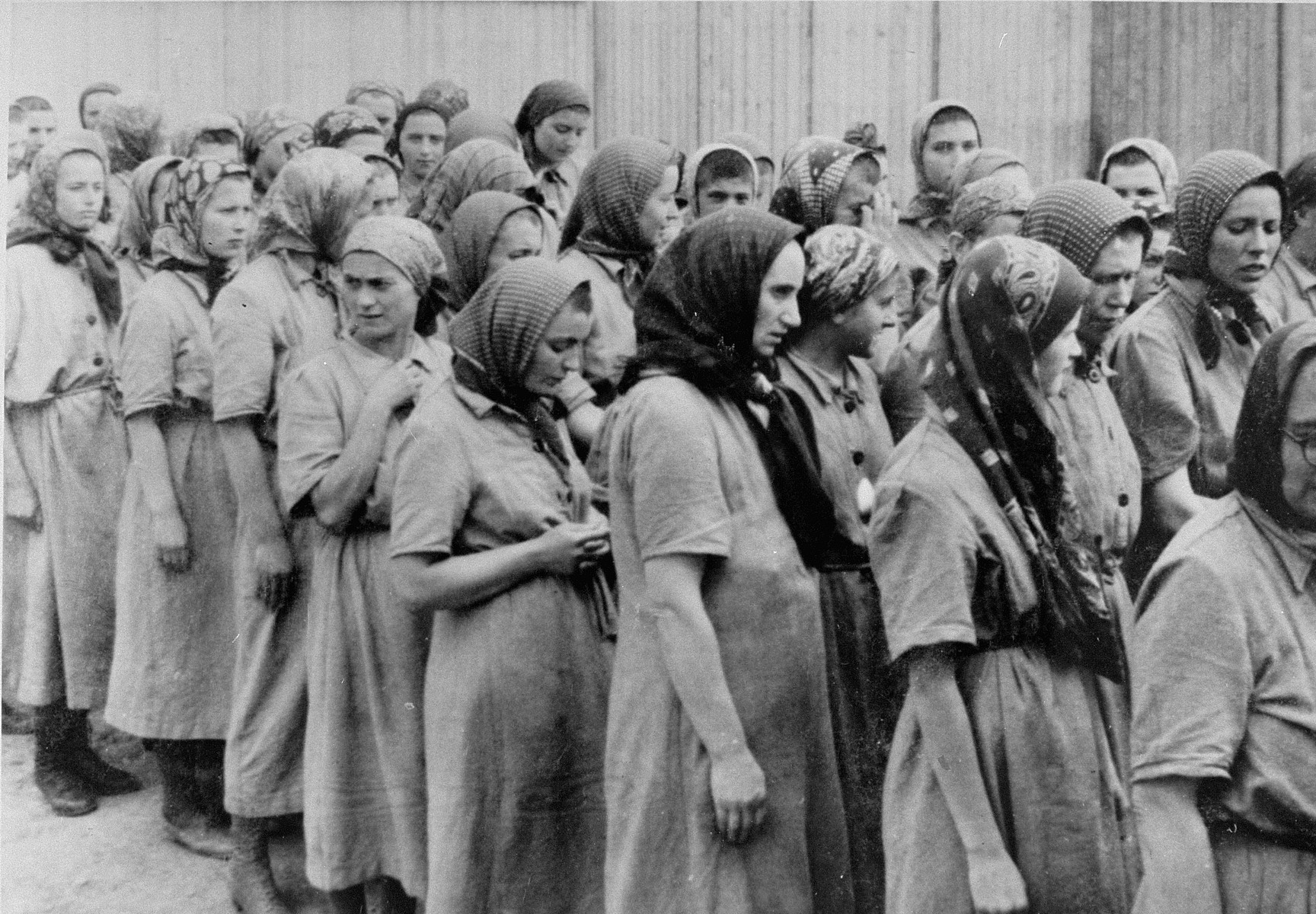 Jewish women from Subcarpathian Rus who have been selected for forced labor at Auschwitz-Birkenau, march toward their barracks after disinfection and headshaving.  Those pictured include Channah Birnbaum, Piri, Erna Birnbaum, Martha Birnbaum, Suri Mermelstein, Suri Stern, Maidi Birnbaum, Aliska Hochmann, Suri Birnbaum, Agi Birnbaum, Bubi Birnbaum and Magdalena Grunfeld.  Pictured in the center of the front row, looking to the left, is Hanna Kelemen (nee Joanna Weigler.)    Bubi Birnbaum was a singer who together with Suri and Piri Birnbaum occasssionally performed for the Germans in the camp.