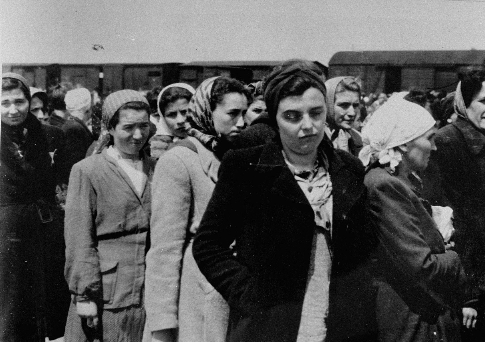 Jewish women from Subcarpathian Rus who have been selected for forced labor at Auschwitz-Birkenau, wait to be taken to another section of the camp.  In the front row is Cilly Stahl, the daughter of Rabbi Elazar Stahl. Behind her, on the right is Sharry Ganz. First from left, in the back is Sury Aron, next to her is Chedvah Zelig, daughter of Elazar Farkash, and third from left, in a white kerchief is Blanka Simsovics. All the women are from the town of Tesco.