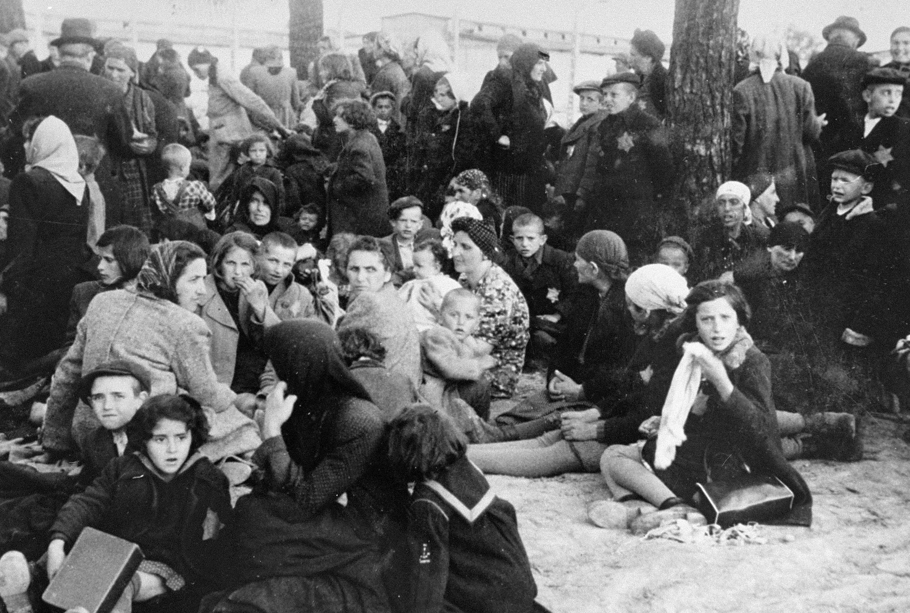 Jews from Subcarpathian Rus who have been selected for death at Auschwitz-Birkenau, wait to be taken to the gas chambers.