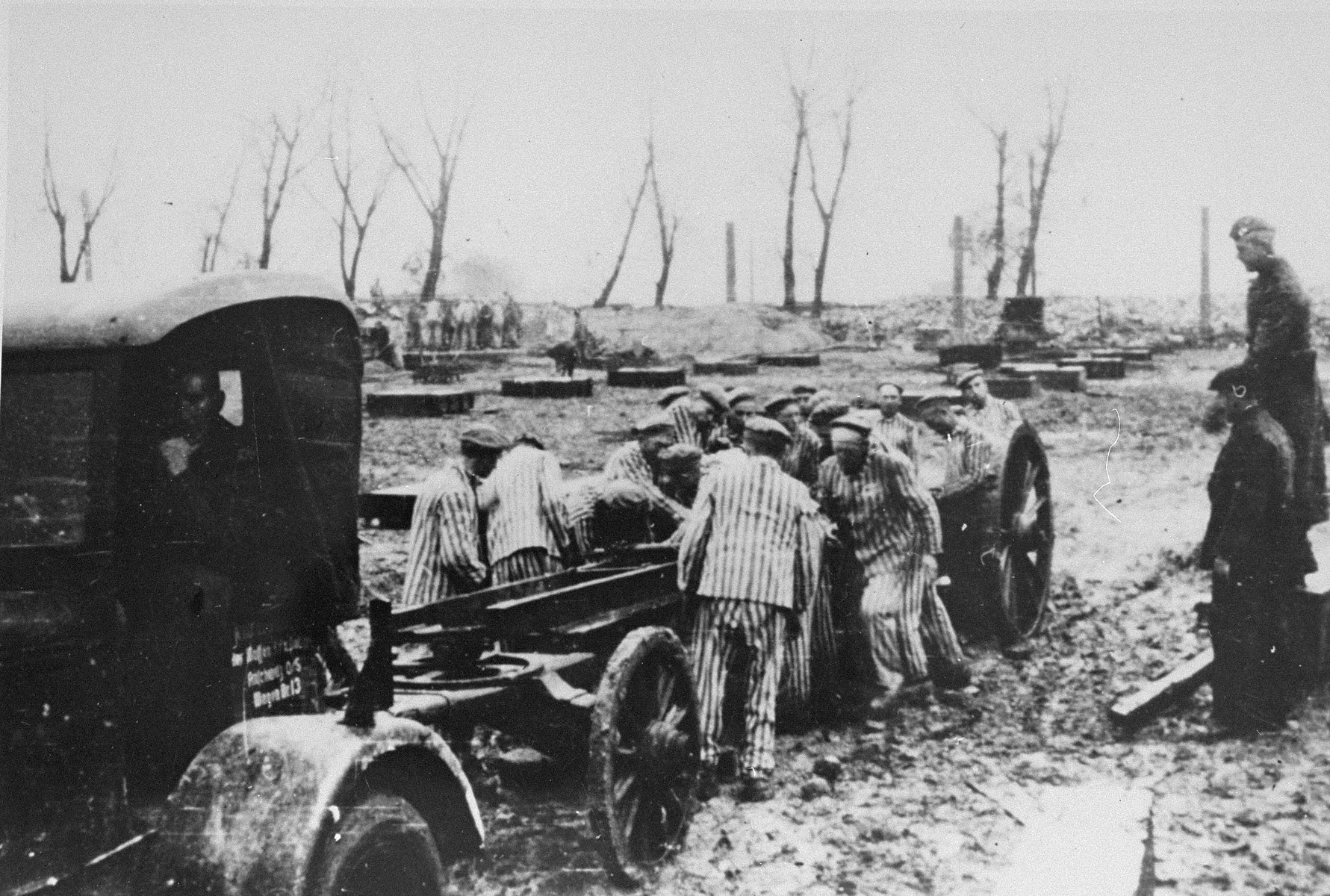Prisoners at forced labor constructing the Krupp factory at Auschwitz.